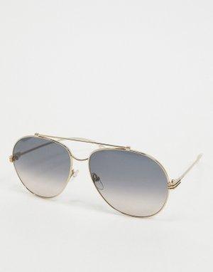 Золотистые очки-авиаторы с синими стеклами Etro-Золотистый ETRO