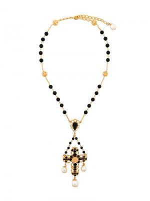 Колье с кулоном в форме креста Dolce & Gabbana. Цвет: черный