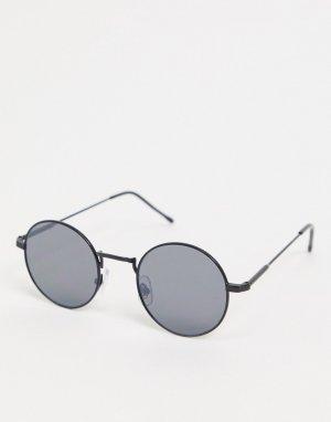 Круглые черные солнцезащитные очки с плоскими стеклами -Черный River Island
