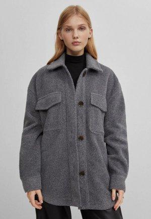Куртка Bershka. Цвет: серый
