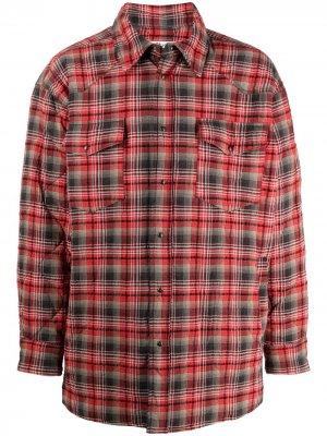 Стеганая куртка-рубашка в клетку Acne Studios. Цвет: красный