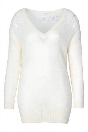 Белый пуловер с ажурной отделкой Patrizia Pepe