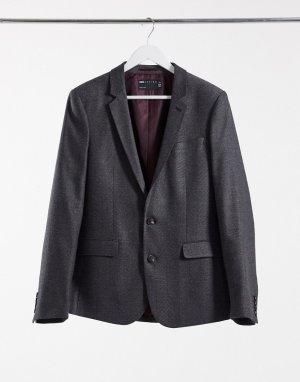 Темно-серый приталенный пиджак с добавлением шерсти и узором в елочку wedding ASOS DESIGN