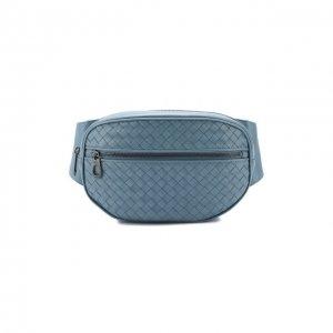 Кожаная поясная сумка Bottega Veneta. Цвет: синий