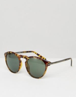 Круглые солнцезащитные очки в черепаховой оправе Jack & Jones. Цвет: коричневый