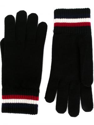 Перчатки с контрастными полосками Moncler. Цвет: черный