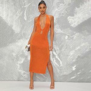 Облегающее платье миди с глубоким вырезом и разрезом SHEIN. Цвет: оранжевый