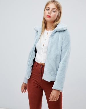Пальто из искусственного меха на молнии с воротником Emory Park. Цвет: синий