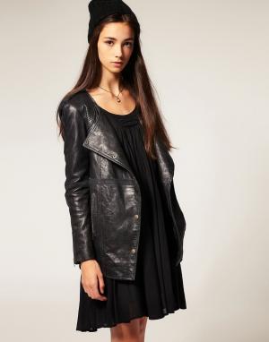 Кожаная куртка без воротника Twist & Tango. Цвет: черный
