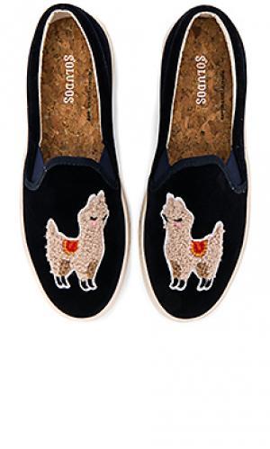 Вельветовые сникерсы llama Soludos. Цвет: синий