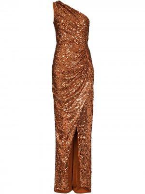 Платье на одно плечо RASARIO. Цвет: коричневый