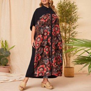 Размера плюс Блуза большой цветочным рисунком с рукавами летучая мышь SHEIN. Цвет: многоцветный