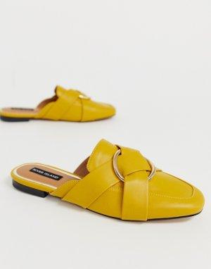 Желтые мюли в стиле лоферов с кольцом -Желтый River Island