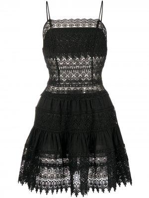 Платье-трапеция мини с вышивкой Charo Ruiz Ibiza. Цвет: черный