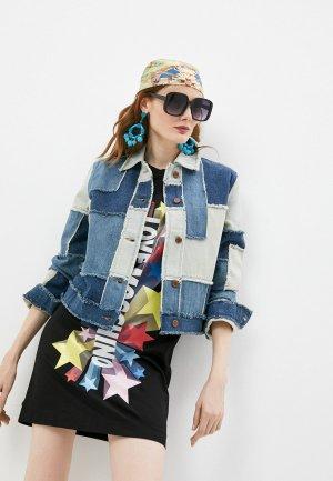 Куртка джинсовая Love Moschino. Цвет: разноцветный