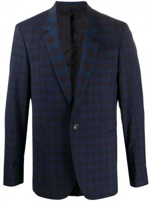 Клетчатый пиджак строгого кроя PS Paul Smith. Цвет: синий