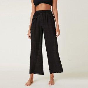 Однотонные прозрачные пляжные брюки SHEIN. Цвет: чёрный