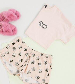Персиковая пижама с надписью mama to bee эксклюзивно для ASOS DESIGN Maternity-Розовый Maternity