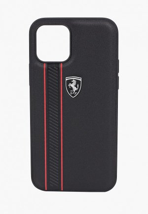 Чехол для iPhone Ferrari 12/12 Pro (6.1), Off-Track Genuine leather Stitched stipe Black. Цвет: черный