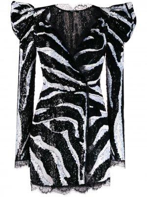 Декорированное платье с длинными рукавами Amen. Цвет: черный
