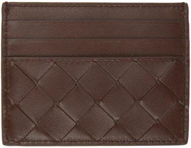 Brown Intrecciato Card Holder Bottega Veneta. Цвет: 2201 brownie gold