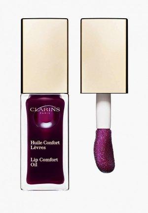 Блеск для губ Clarins масло, Lip Comfort Oil, 08 blackberry, 7 мл. Цвет: фиолетовый