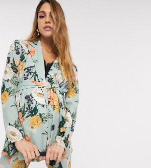 Зеленый трикотажный пиджак с цветочным принтом ASOS DESIGN Maternity-Мульти Maternity
