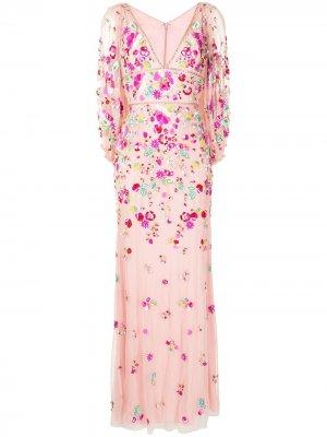 Платье Sugar Sweet с глубоким вырезом Jenny Packham. Цвет: розовый