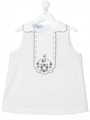 Блузка с манишкой Mi Sol. Цвет: белый