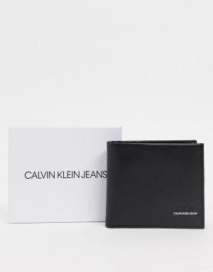 Черный кожаный бумажник с логотипом и отделением для монет Calvin Klein Jeans