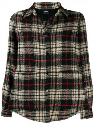 Клетчатая рубашка с карманами Aspesi. Цвет: черный