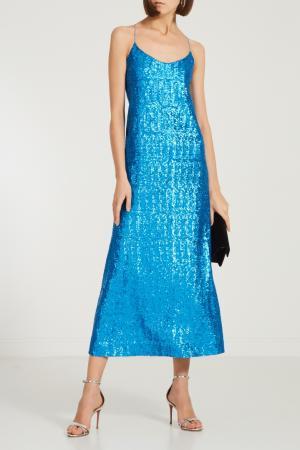 Синее платье с пайетками Alexandr Rogov. Цвет: голубой