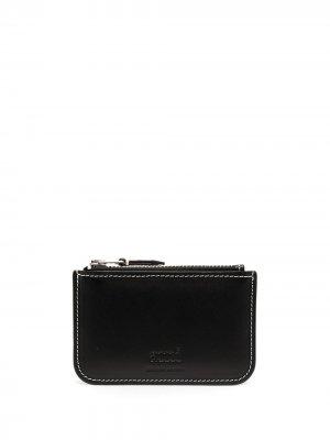Маленький кошелек с тисненым логотипом AMI Paris. Цвет: черный
