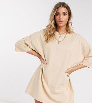 Бежевое платье-футболка эксклюзивно для ASOS-Серый Puma