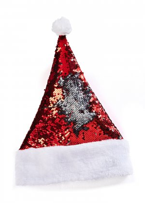 Шапка Деда Мороза с пайетками bonprix. Цвет: красный