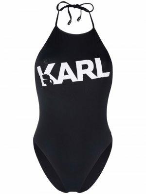 Logo print swimsuit Karl Lagerfeld. Цвет: черный