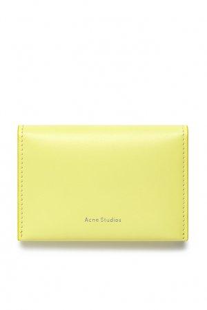 Желтый кожаный бумажник Acne Studios. Цвет: желтый