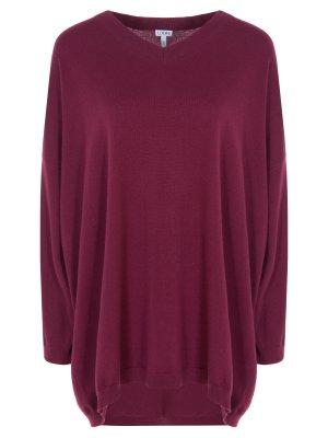 Шерстяной пуловер oversize Loewe. Цвет: бордовый