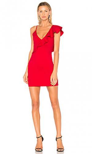 Платье ruffle danica Amanda Uprichard. Цвет: красный