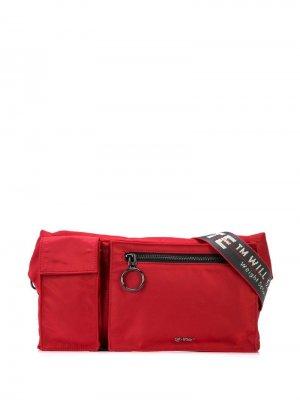 Поясная сумка с логотипом на ремне Off-White. Цвет: красный