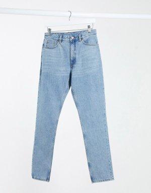 Синие джинсы в винтажном стиле с завышенной талией -Синий Monki