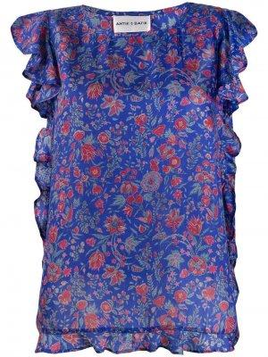 Блузка с цветочным принтом Antik Batik. Цвет: синий