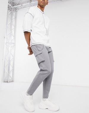 Серые трикотажные брюки карго от комплекта -Серый Mauvais