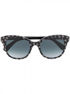 Солнцезащитные очки в круглой оправе с цветочным принтом Kate Spade. Цвет: черный