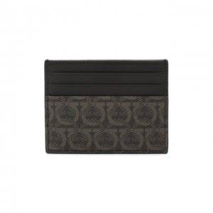 Кожаный футляр для кредитных карт Salvatore Ferragamo. Цвет: серый