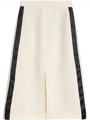 Спортивная юбка А-образного силуэта с боковыми полосками Burberry. Цвет: белый