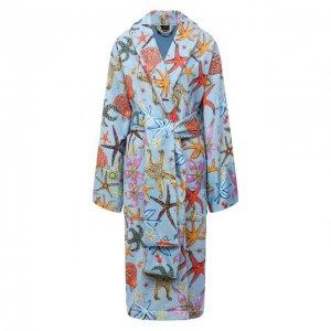 Хлопковый халат Versace. Цвет: синий