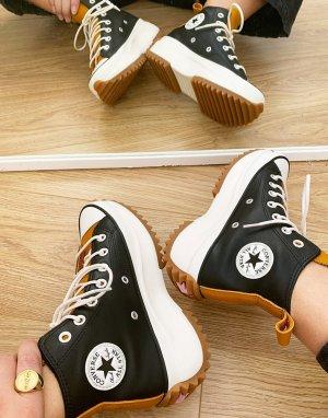 Высокие кожаные кеды Run Star Hike Hi в цвете черный с горчично-желтым Converse