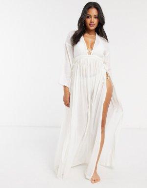 Пляжное платье макси цвета слоновой кости с длинными рукавами и глубоким вырезом -Белый ASOS DESIGN