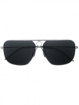 Солнцезащитные очки-авиаторы Thom Browne Eyewear. Цвет: серебристый